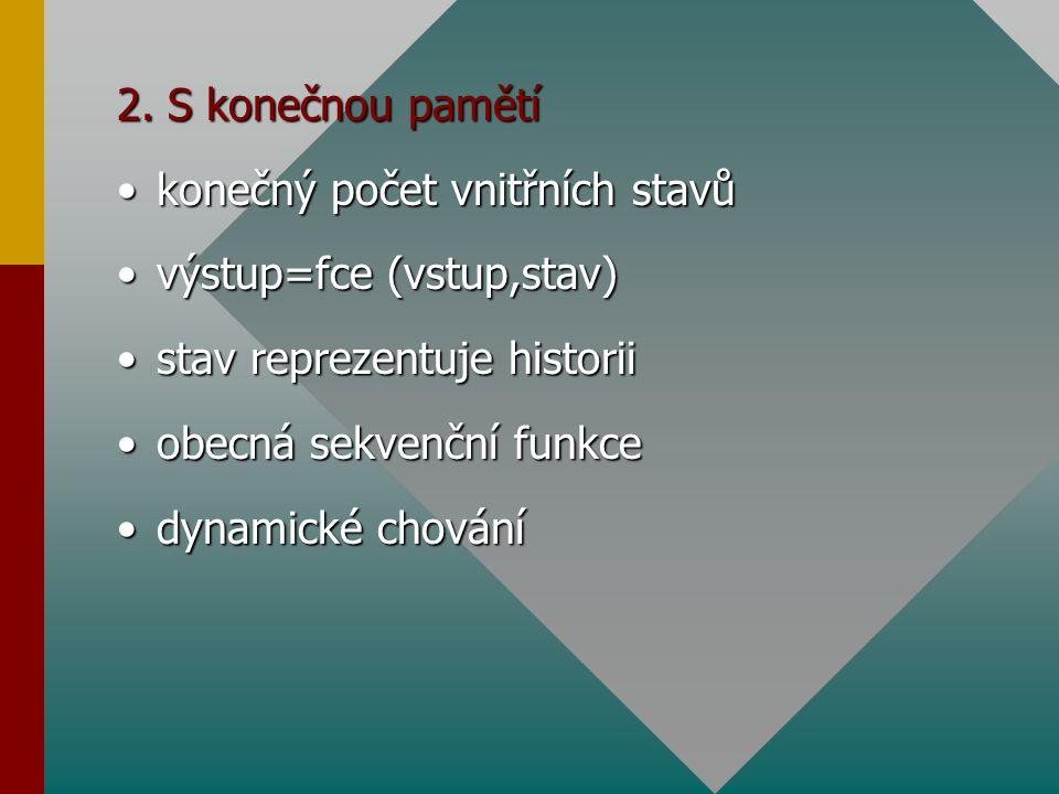 2. S konečnou pamětí konečný počet vnitřních stavů. výstup=fce (vstup,stav) stav reprezentuje historii.