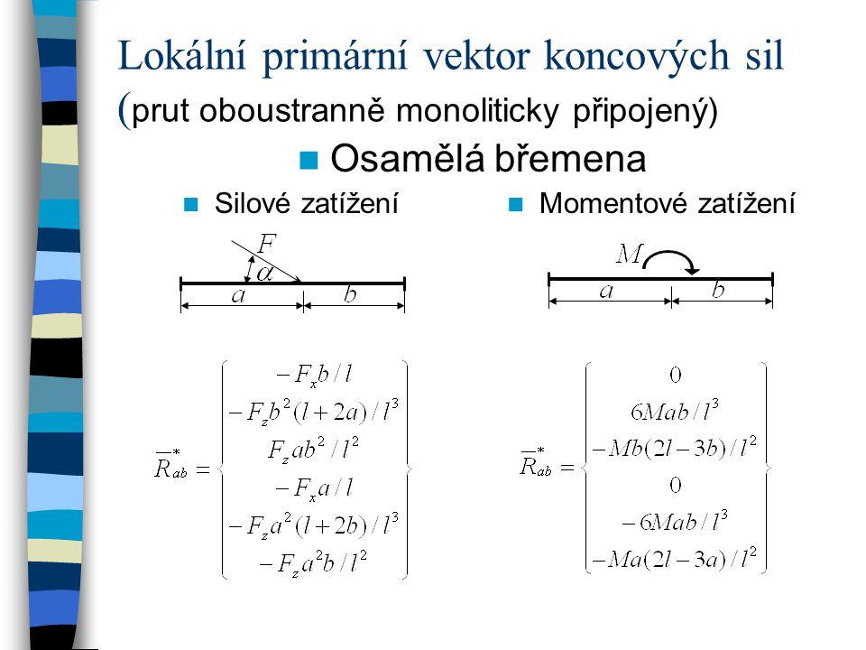 Lokální primární vektor koncových sil (prut oboustranně monoliticky připojený)