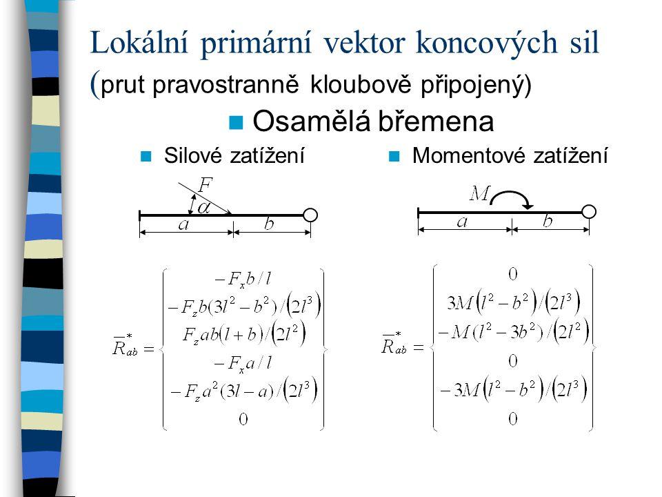 Lokální primární vektor koncových sil (prut pravostranně kloubově připojený)