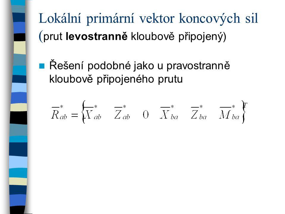 Lokální primární vektor koncových sil (prut levostranně kloubově připojený)