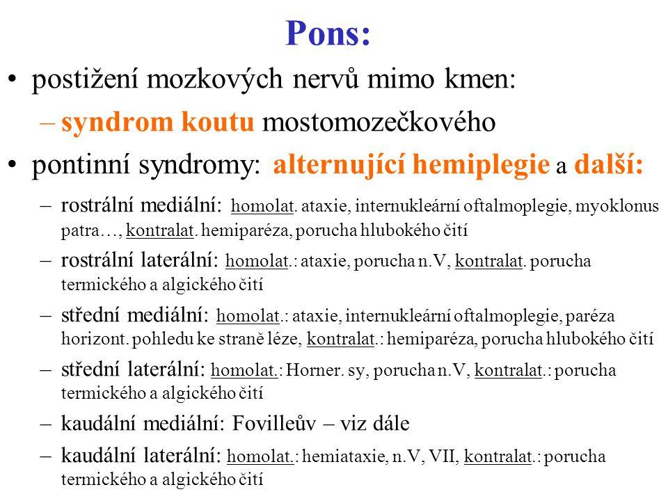 Pons: postižení mozkových nervů mimo kmen: