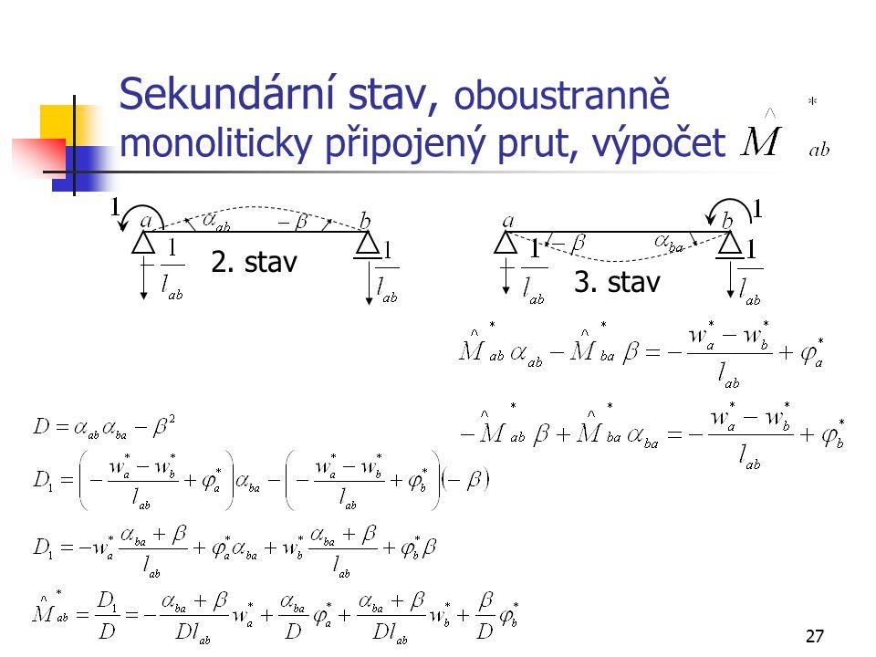 Sekundární stav, oboustranně monoliticky připojený prut, výpočet