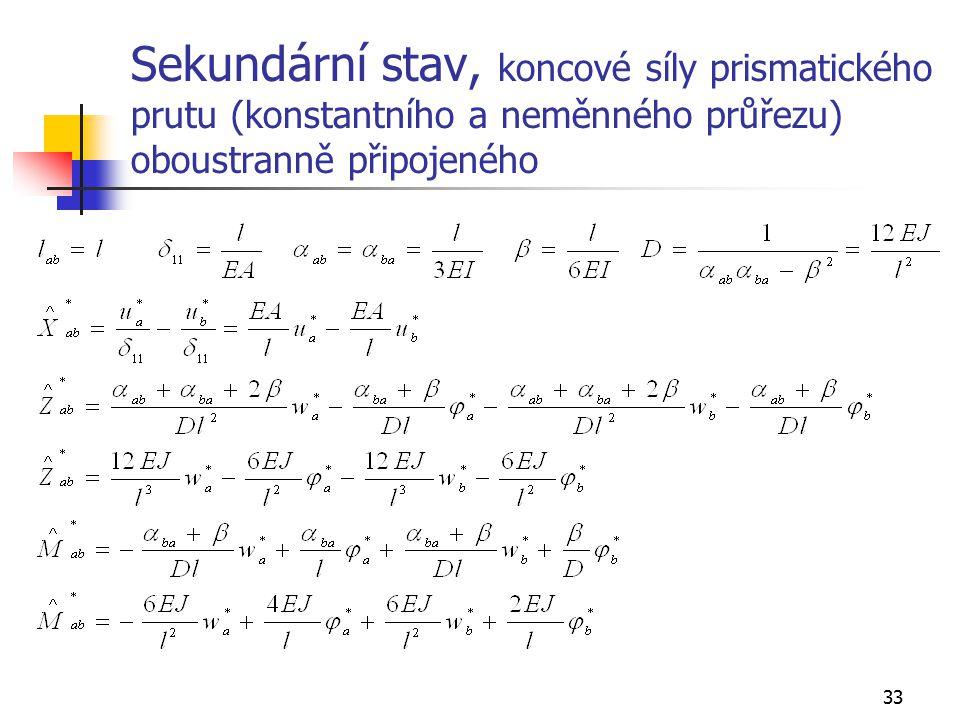 Sekundární stav, koncové síly prismatického prutu (konstantního a neměnného průřezu) oboustranně připojeného