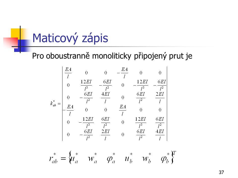 Maticový zápis Pro oboustranně monoliticky připojený prut je