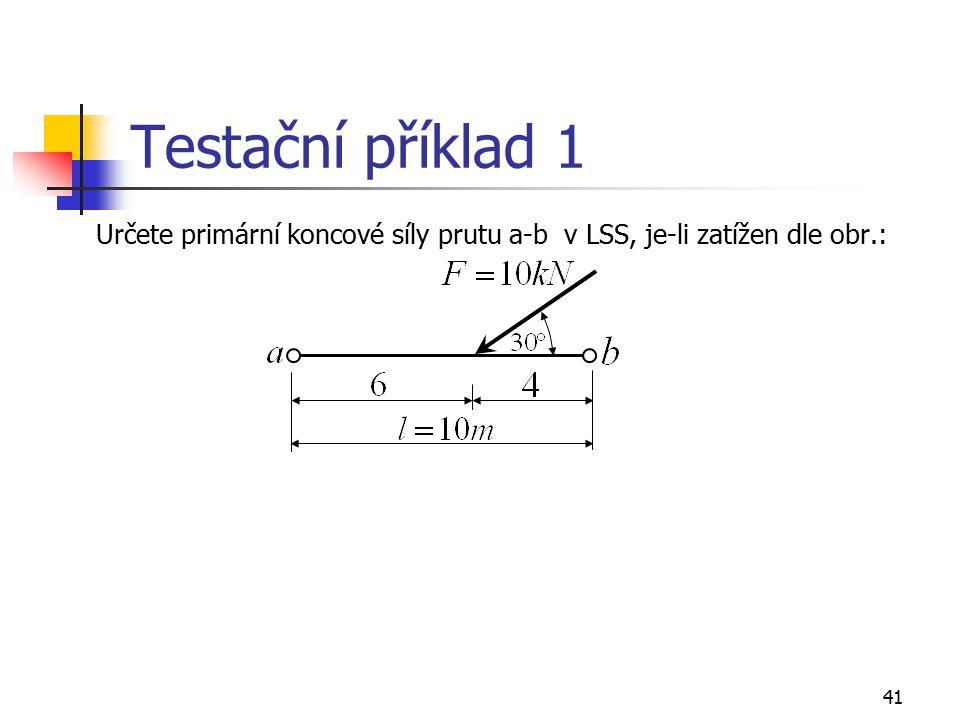 Testační příklad 1 Určete primární koncové síly prutu a-b v LSS, je-li zatížen dle obr.:
