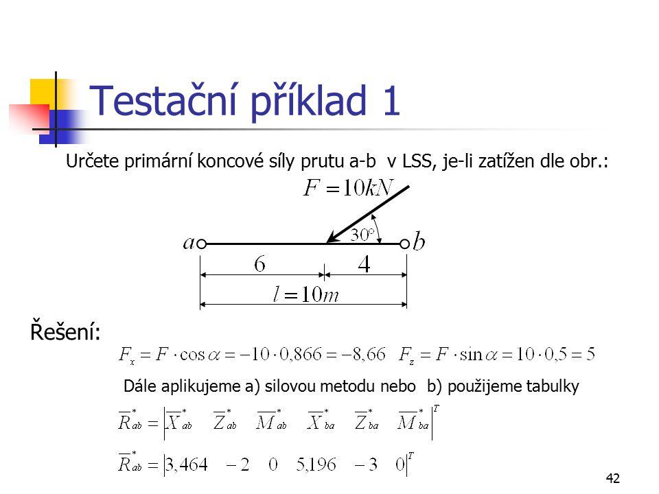 Testační příklad 1 Řešení: