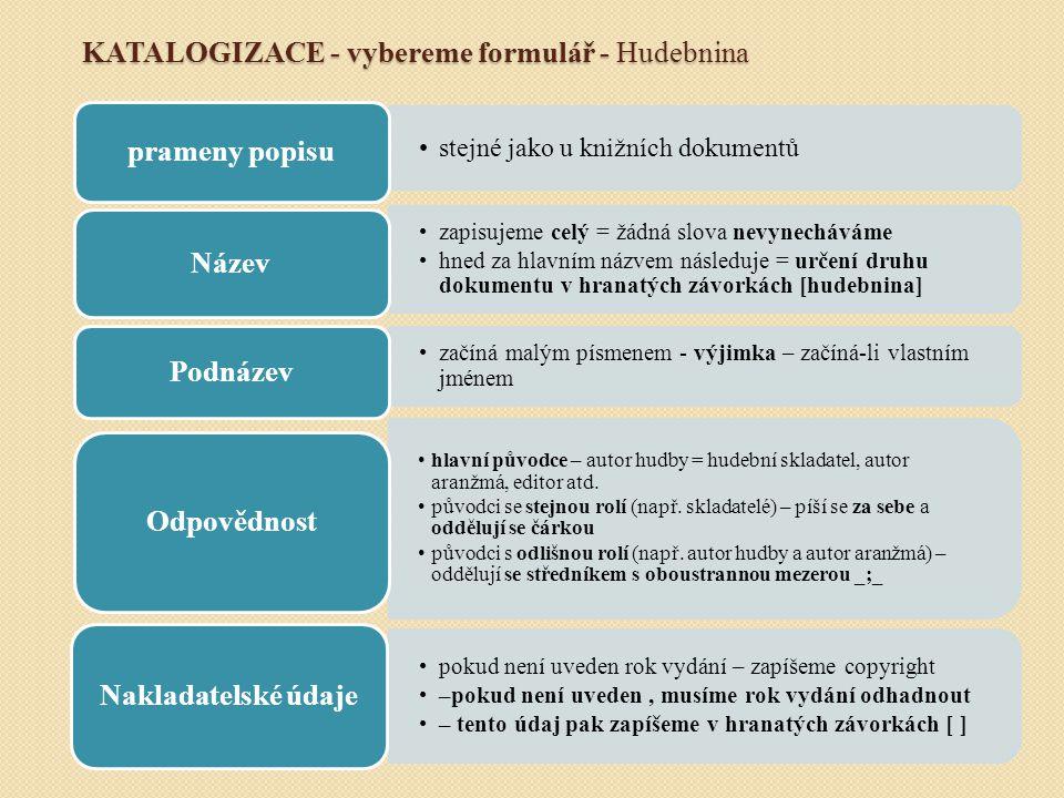 KATALOGIZACE - vybereme formulář - Hudebnina