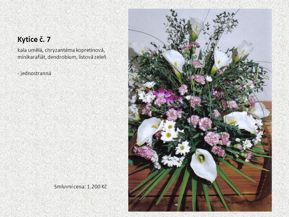 Kytice č. 7 kala umělá, chryzantéma kopretinová, minikarafiát, dendrobium, listová zeleň. - jednostranná.
