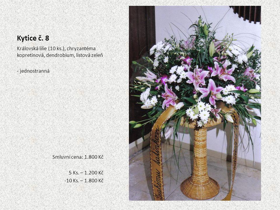Kytice č. 8 Královská lilie (10 ks.), chryzantéma kopretinová, dendrobium, listová zeleň. - jednostranná.