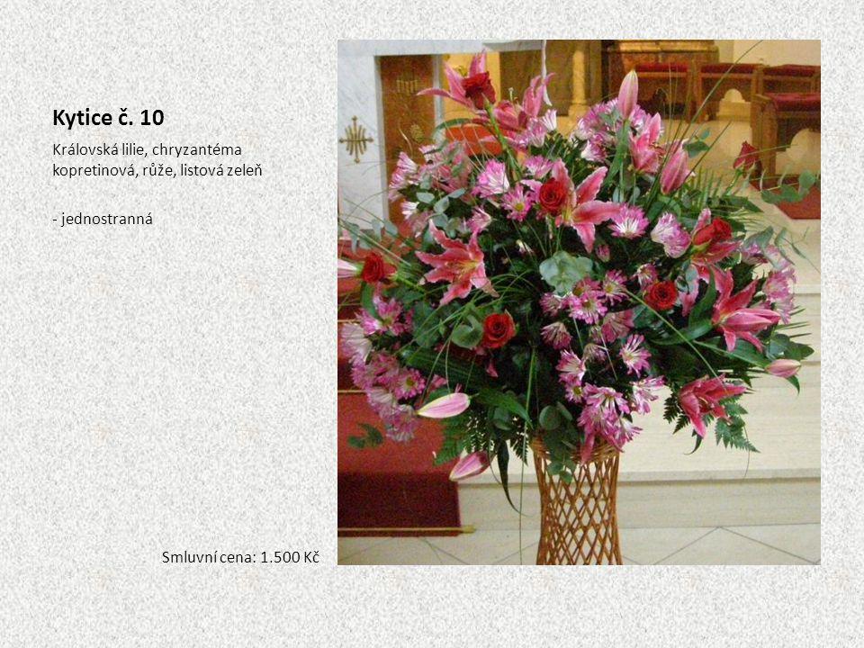 Kytice č. 10 Královská lilie, chryzantéma kopretinová, růže, listová zeleň.