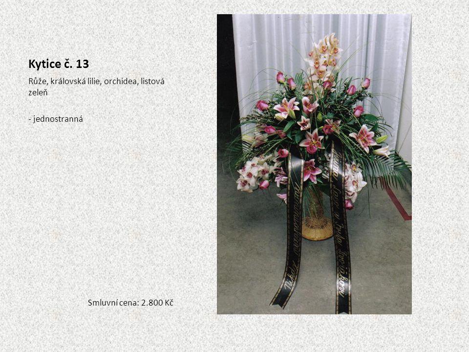 Kytice č. 13 Růže, královská lilie, orchidea, listová zeleň