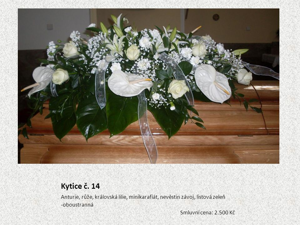 Kytice č. 14 Anturie, růže, královská lilie, minikarafiát, nevěstin závoj, listová zeleň. oboustranná.