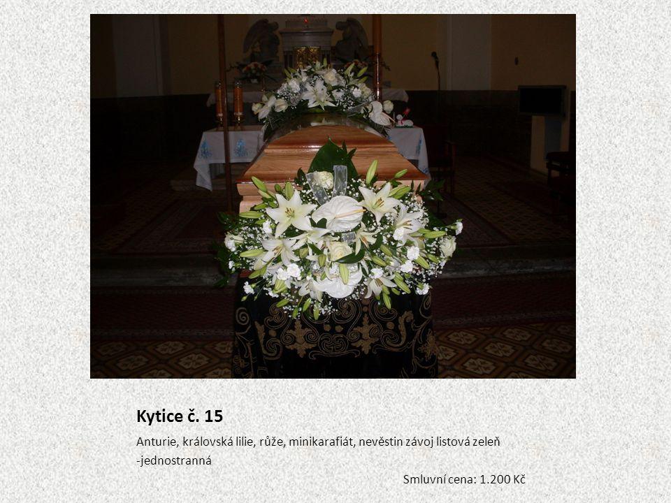 Kytice č. 15 Anturie, královská lilie, růže, minikarafiát, nevěstin závoj listová zeleň. -jednostranná.