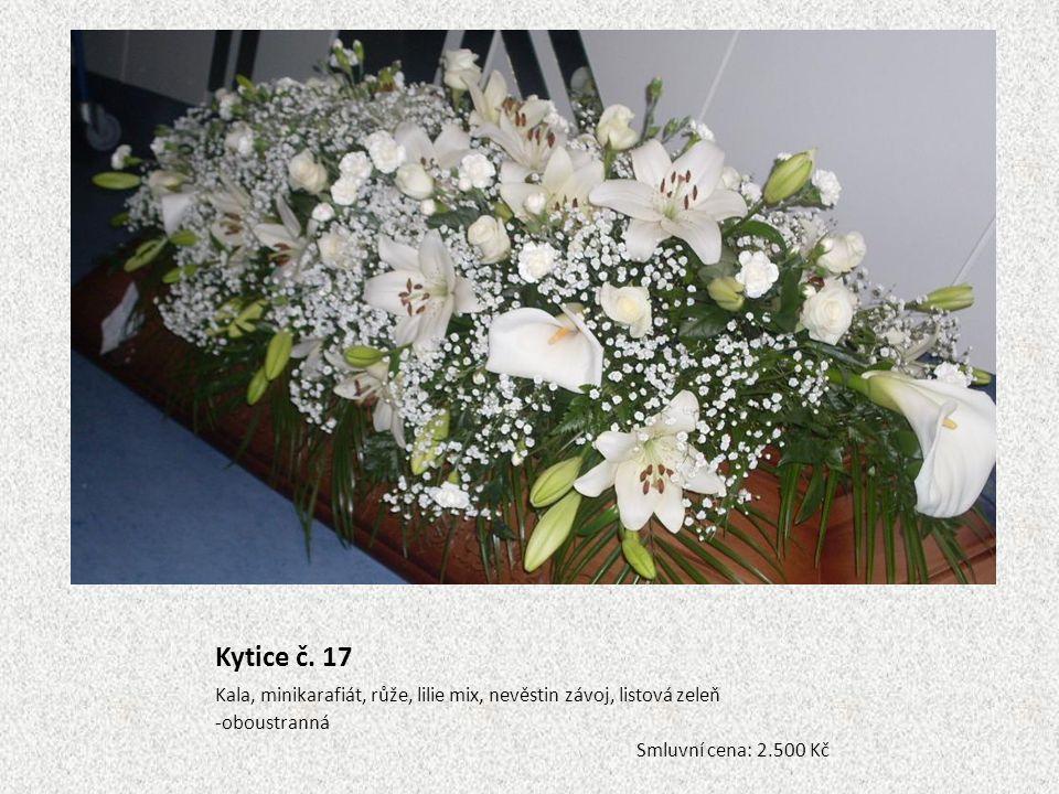 Kytice č. 17 Kala, minikarafiát, růže, lilie mix, nevěstin závoj, listová zeleň.