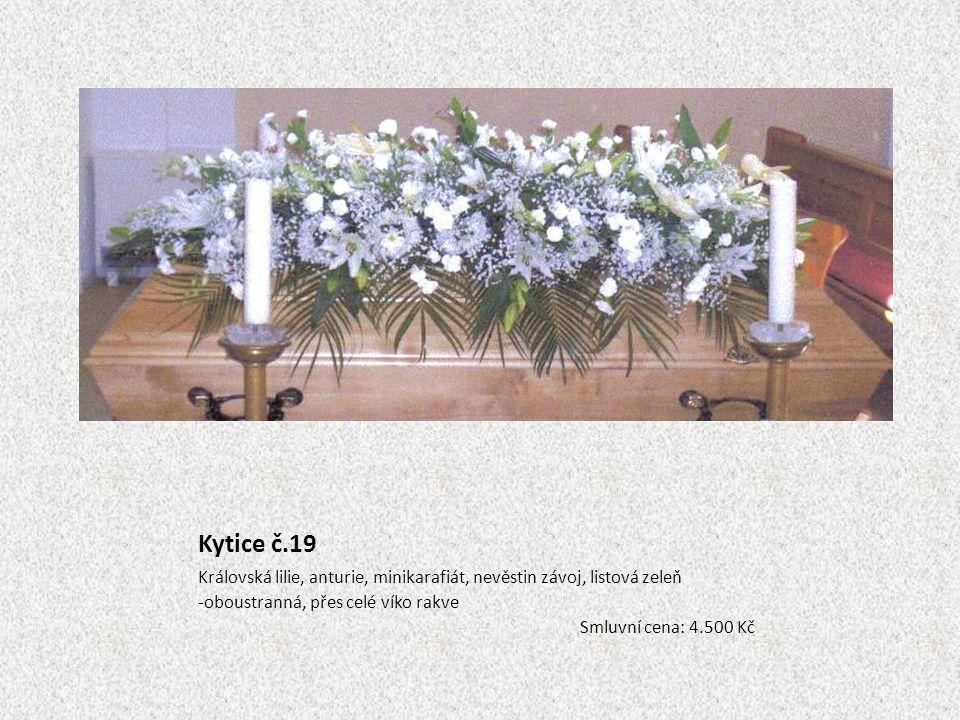 Kytice č.19 Královská lilie, anturie, minikarafiát, nevěstin závoj, listová zeleň. oboustranná, přes celé víko rakve.