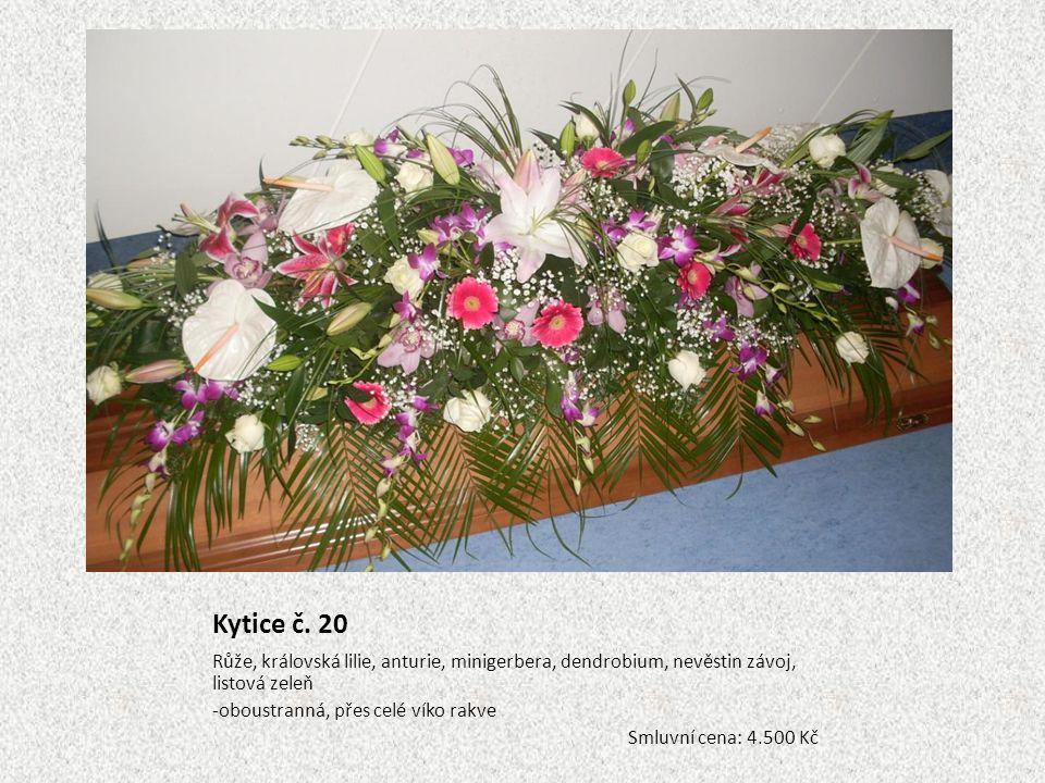 Kytice č. 20 Růže, královská lilie, anturie, minigerbera, dendrobium, nevěstin závoj, listová zeleň.