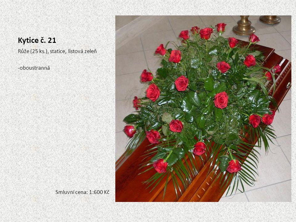 Kytice č. 21 Růže (25 ks.), statice, listová zeleň oboustranná