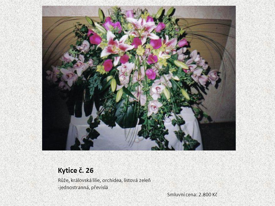 Kytice č. 26 Růže, královská lilie, orchidea, listová zeleň