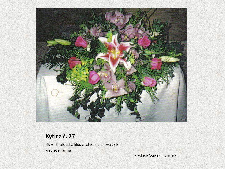 Kytice č. 27 Růže, královská lilie, orchidea, listová zeleň