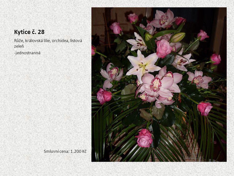 Kytice č. 28 Růže, královská lilie, orchidea, listová zeleň