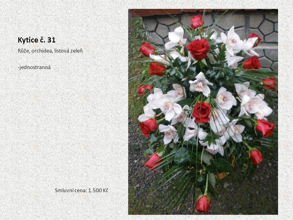 Kytice č. 31 Růže, orchidea, listová zeleň jednostranná