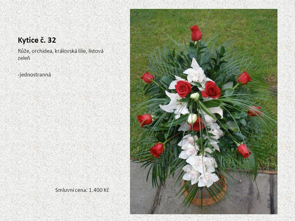Kytice č. 32 Růže, orchidea, královská lilie, listová zeleň