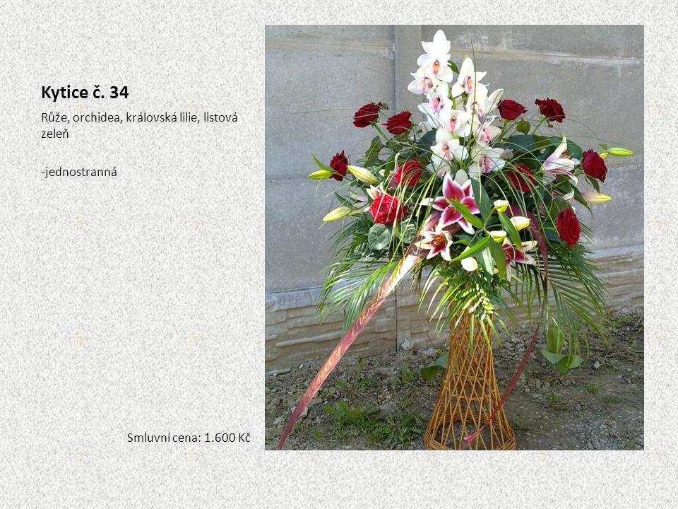 Kytice č. 34 Růže, orchidea, královská lilie, listová zeleň