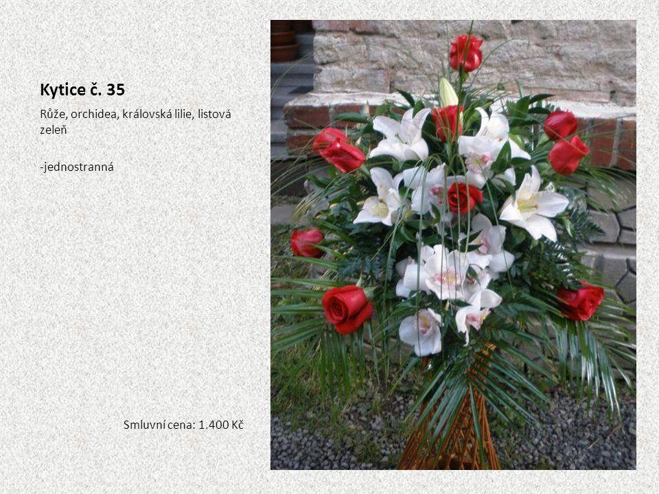 Kytice č. 35 Růže, orchidea, královská lilie, listová zeleň