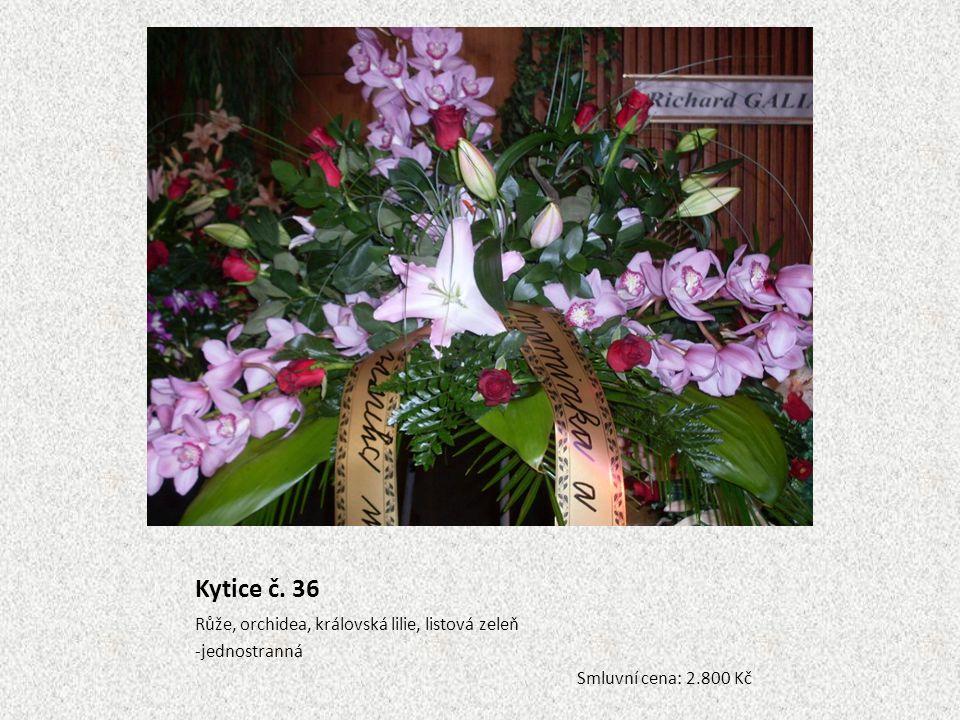 Kytice č. 36 Růže, orchidea, královská lilie, listová zeleň