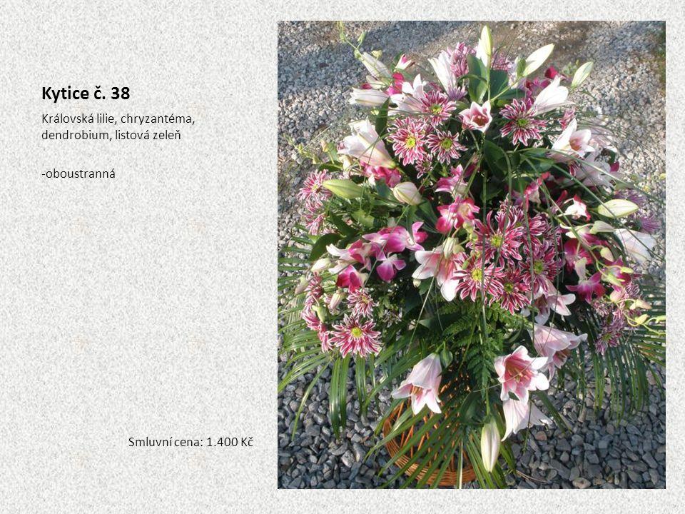 Kytice č. 38 Královská lilie, chryzantéma, dendrobium, listová zeleň