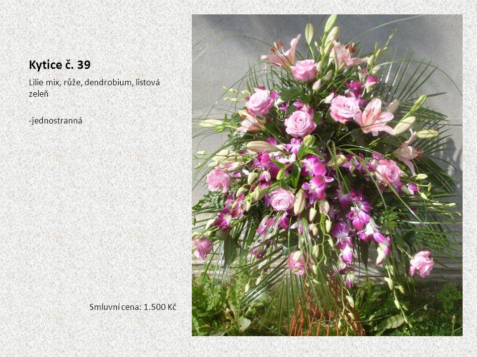 Kytice č. 39 Lilie mix, růže, dendrobium, listová zeleň jednostranná