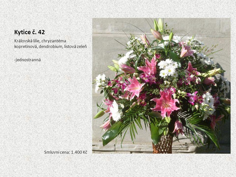 Kytice č. 42 Královská lilie, chryzantéma kopretinová, dendrobium, listová zeleň.