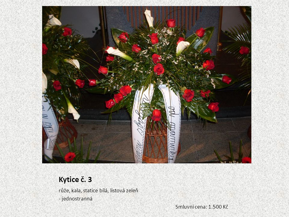 Kytice č. 3 růže, kala, statice bílá, listová zeleň - jednostranná