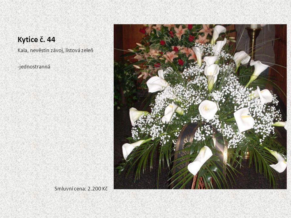Kytice č. 44 Kala, nevěstin závoj, listová zeleň jednostranná