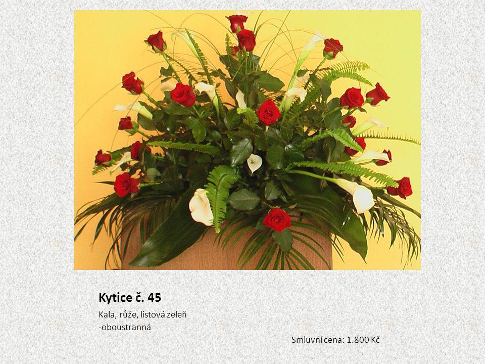Kytice č. 45 Kala, růže, listová zeleň oboustranná