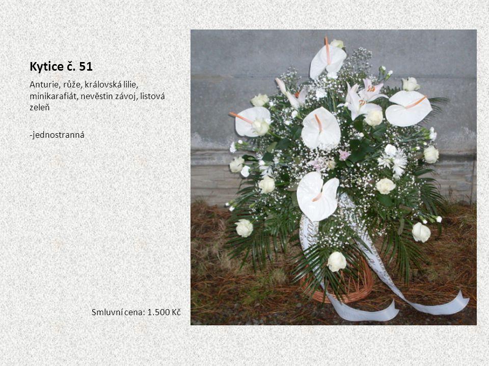 Kytice č. 51 Anturie, růže, královská lilie, minikarafiát, nevěstin závoj, listová zeleň. jednostranná.