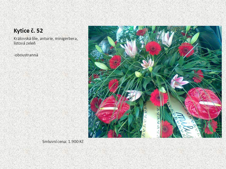 Kytice č. 52 Královská lilie, anturie, minigerbera, listová zeleň