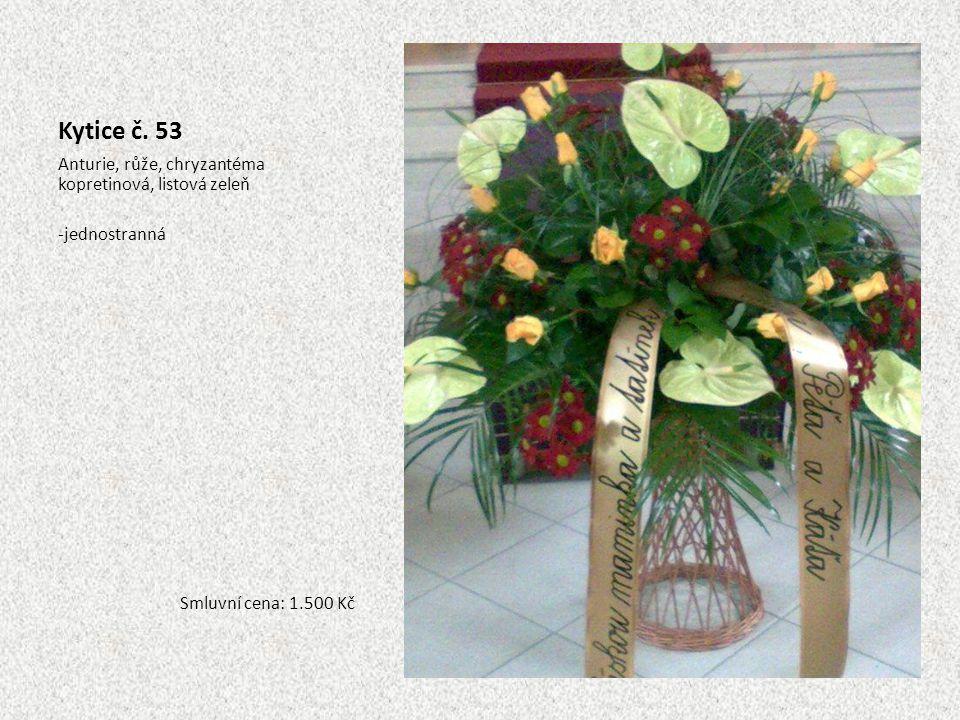 Kytice č. 53 Anturie, růže, chryzantéma kopretinová, listová zeleň