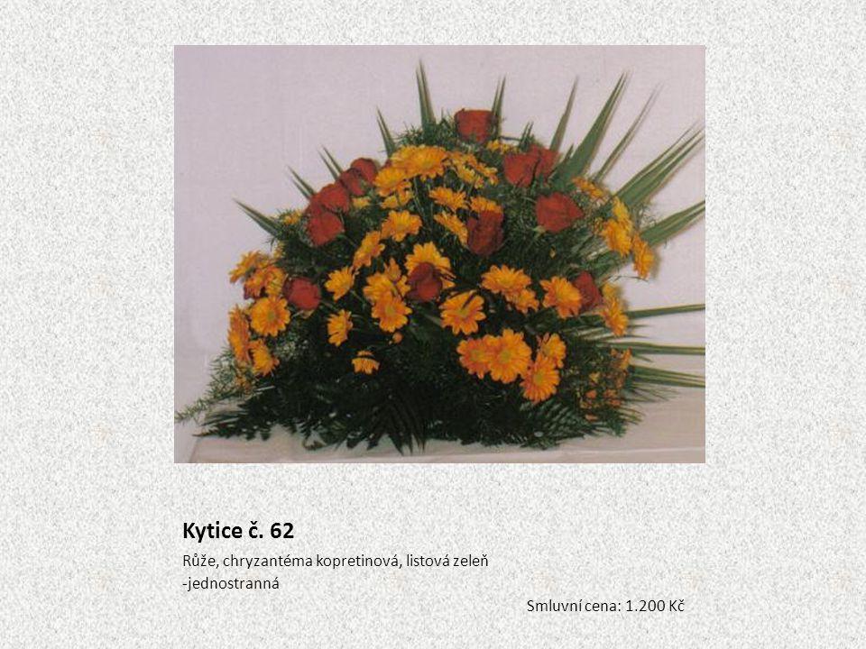 Kytice č. 62 Růže, chryzantéma kopretinová, listová zeleň jednostranná