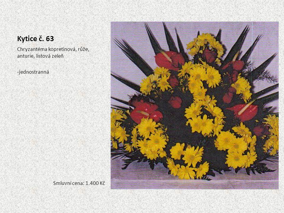 Kytice č. 63 Chryzantéma kopretinová, růže, anturie, listová zeleň