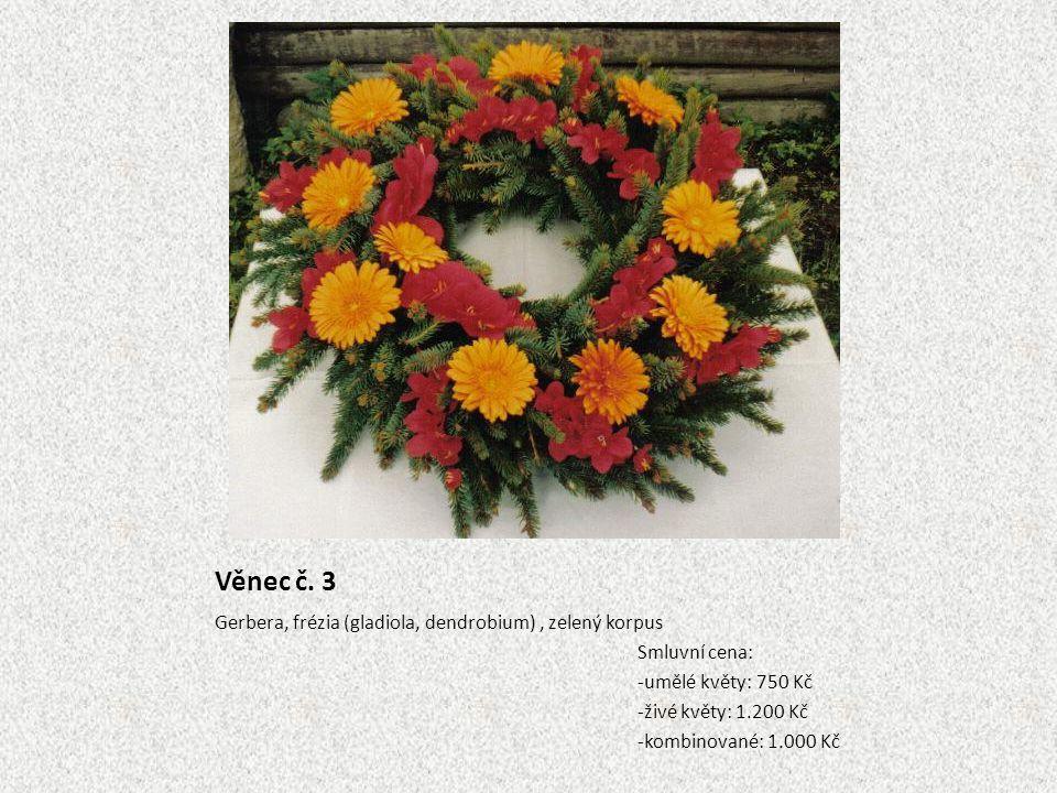 Věnec č. 3 Gerbera, frézia (gladiola, dendrobium) , zelený korpus