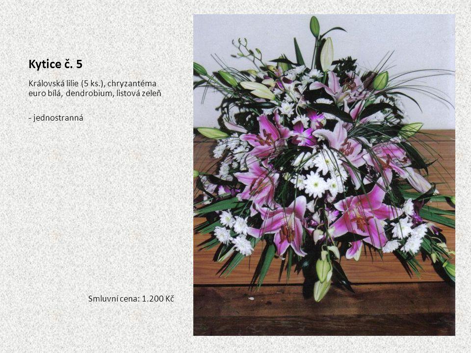Kytice č. 5 Královská lilie (5 ks.), chryzantéma euro bílá, dendrobium, listová zeleň. - jednostranná.