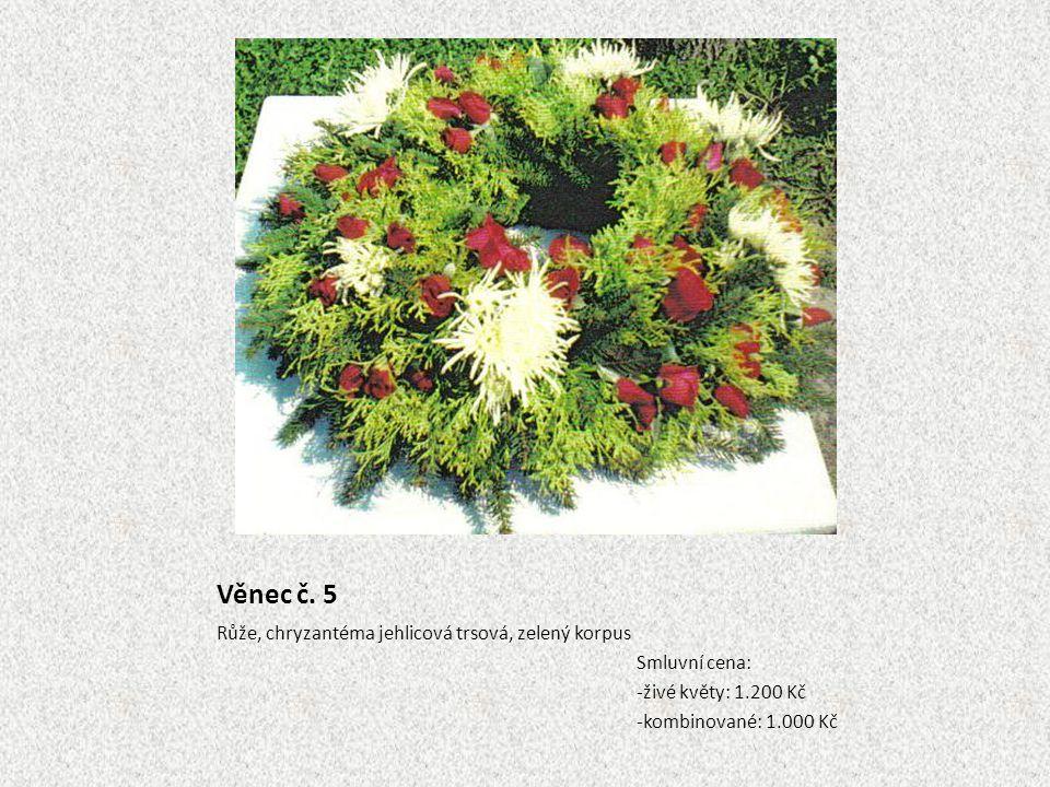 Věnec č. 5 Růže, chryzantéma jehlicová trsová, zelený korpus