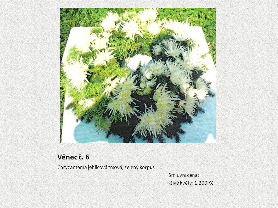 Věnec č. 6 Chryzantéma jehlicová trsová, zelený korpus Smluvní cena: