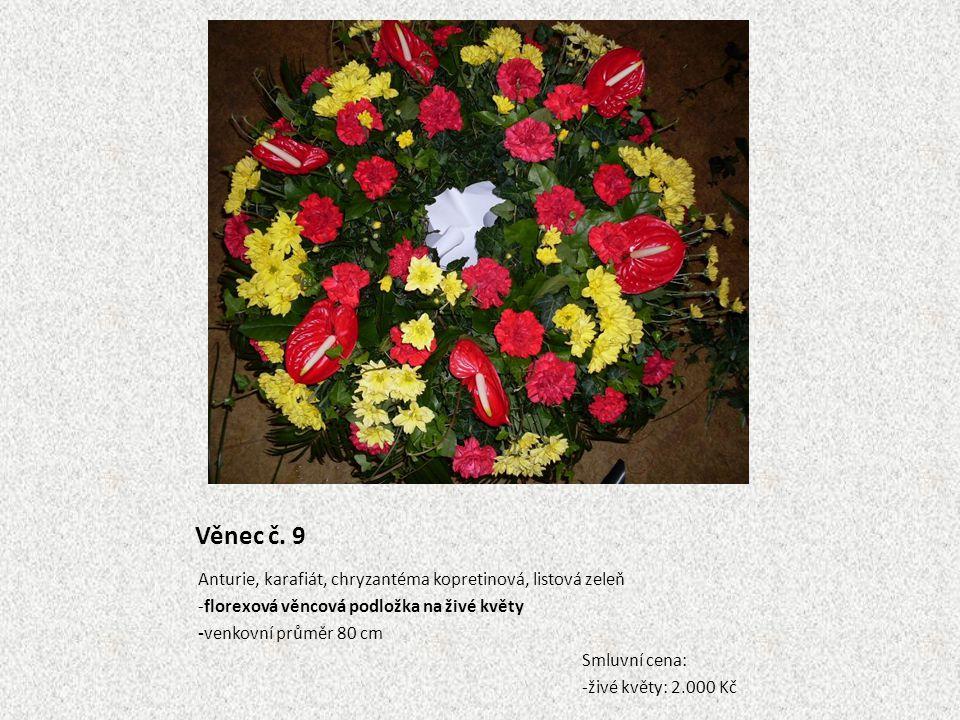 Věnec č. 9 Anturie, karafiát, chryzantéma kopretinová, listová zeleň