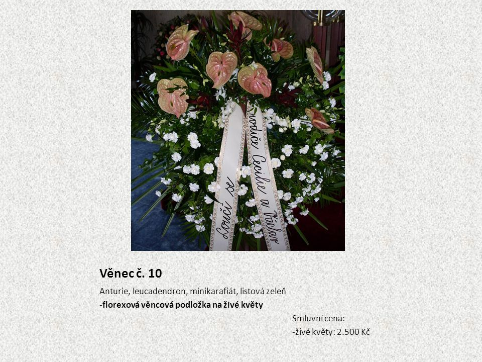 Věnec č. 10 Anturie, leucadendron, minikarafiát, listová zeleň