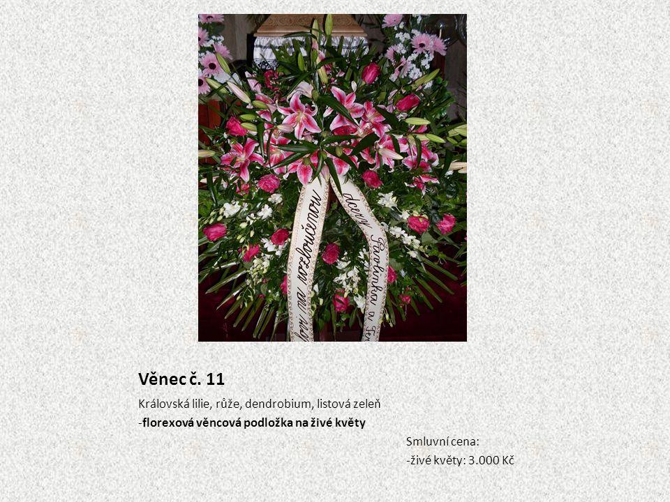 Věnec č. 11 Královská lilie, růže, dendrobium, listová zeleň