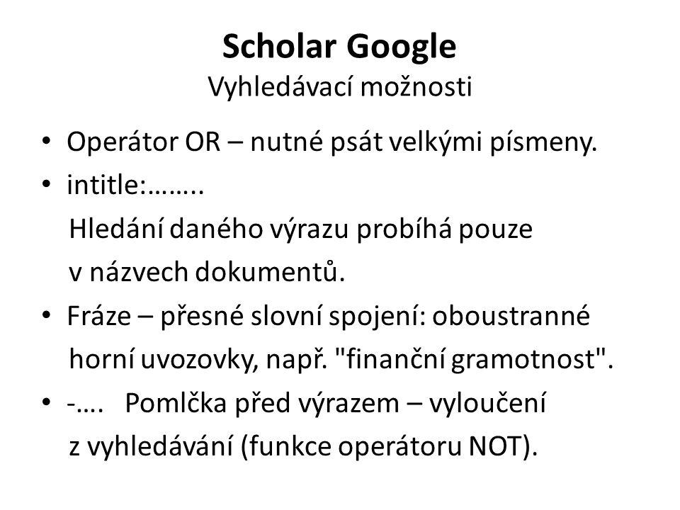 Scholar Google Vyhledávací možnosti