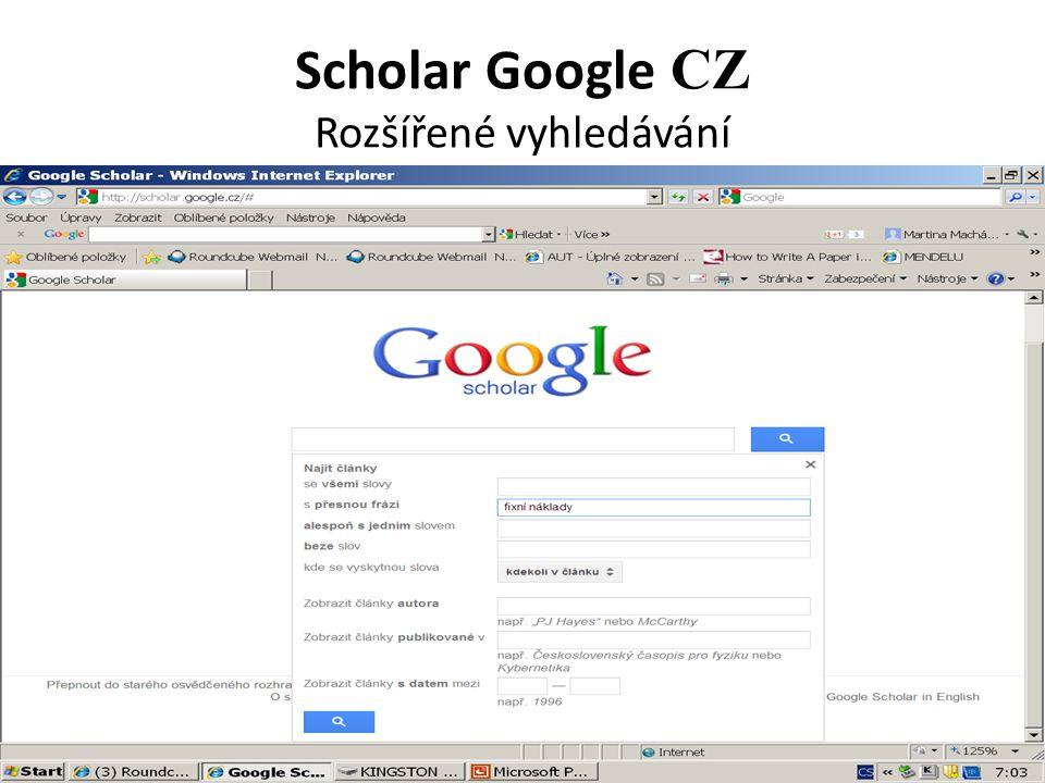Scholar Google CZ Rozšířené vyhledávání