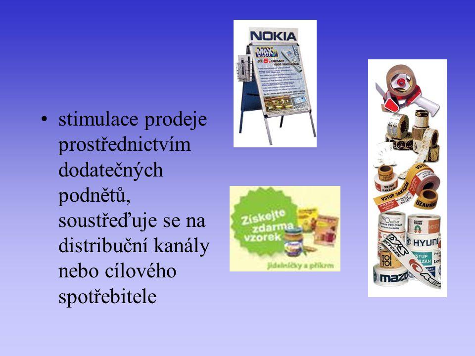 stimulace prodeje prostřednictvím dodatečných podnětů, soustřeďuje se na distribuční kanály nebo cílového spotřebitele